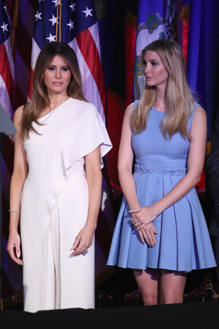 Melania Trump and Ivanka Trump standing by on election night.