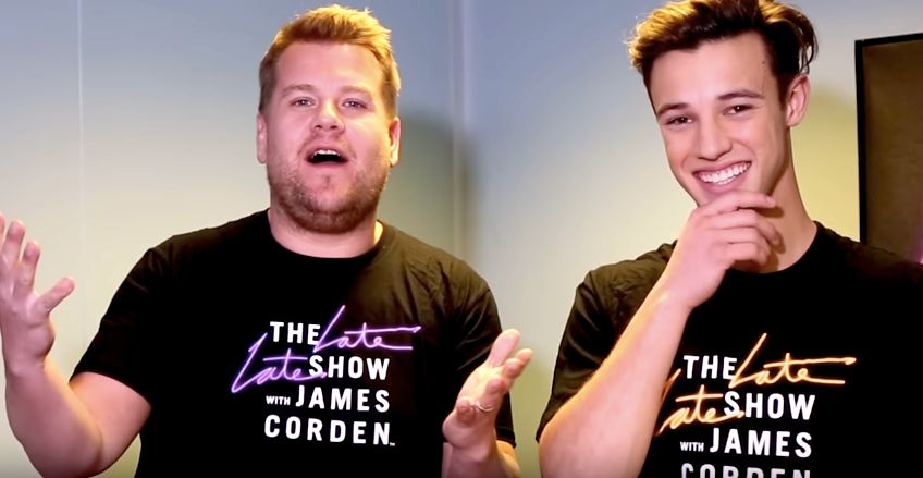 James Corden and Cameron Dallas take part in the two-minute clothing challenge.