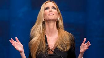FILE - This Feb. 10, 2012 file photo shows conservative commentator Ann Coulter gesturing while speaking at the Conservative Political Action Conference (CPAC) in Washington. The Fox Nation web site has removed a column by conservative commentator Ann Coulter because it had a reference to killing the daughter of Sen. John McCain. Fox said Thursday, April 11, 2013, the column, posted Wednesday night, was deemed offensive. Coulter wrote that MSNBC's Martin Bashir suggested Republican senators need to have a member of their family killed before they would support stronger gun control legislation. She wrote: Let's start with Meghan McCain! (AP Photo/J. Scott Applewhite, file)