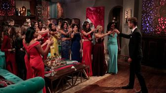 """THE BACHELOR - """"Episode 2101"""" - What do a dolphin-loving woman, a successful businesswoman who runs her parents multi-million -dollar flooring empire;, a bachelorette, who is hiding a big secret about her past involving Nick, and a no-nonsense Southern belle, who has Nick in her cross-hairs for a big country wedding, all have in common? They all have their sights set on making the Bachelor, Nick Viall, their future husband when the much-anticipated 21th edition of ABC's hit romance reality series, """"The Bachelor,"""" premieres, MONDAY, JANUARY 2 (8:00-10:01 p.m., ET), on the ABC Television Network. (ABC/Rick Rowell)CHRISTEN, IDA MARIE, ANGELA, ALEXIS, CORINNE, JASMINE, NICK VIALL"""