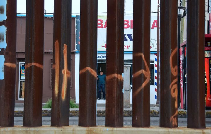 This section of border fencing in Nogales, Arizona, is built of a series of metal beams, which allows Border Patrol agents to