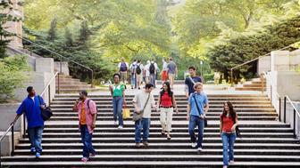 College students descending stairs
