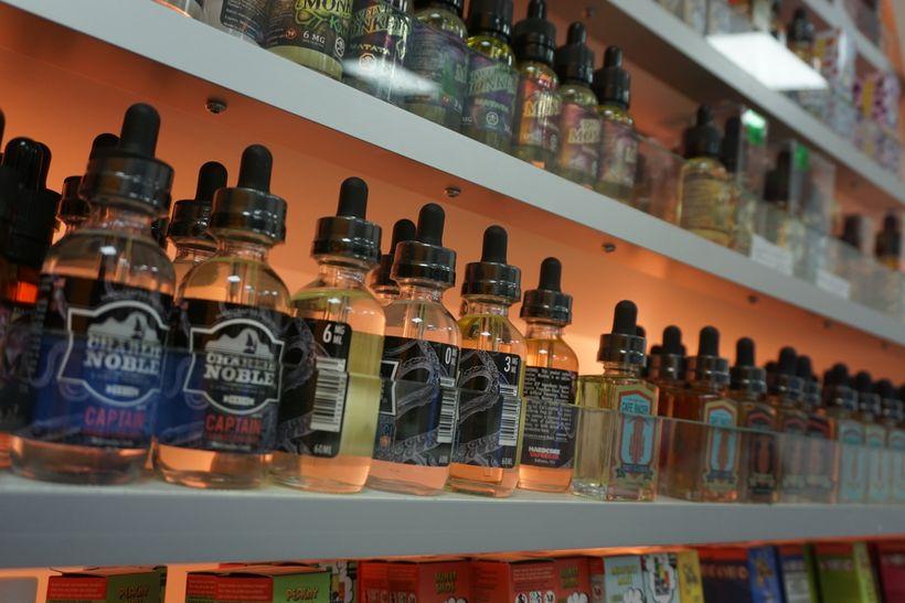 Range of e-liquids available at the Vapor Shop in Leuven