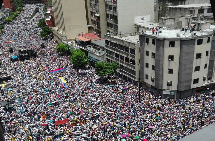 Opposition activists march in Caracas, on Sept. 1, 2016.