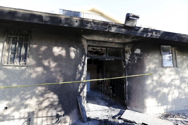 Damage at the Islamic Society of Coachella Valley on Dec. 12, 2015. A fire that broke out at the Southern California mosque a