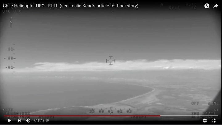 The location of the object in two stills from the video, as the helicopter moved up along the coast towards it.