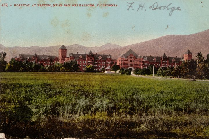 <p>A postcard of Patton State Hospital, which sterilized thousands of patients in California</p>