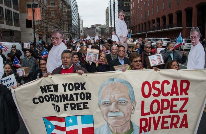 People march to demand the release of Puerto Rican nationalist Oscar Lopez Rivera near the White House in Washington, DC, on