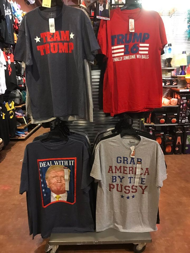 The Spencer Gifts Trump tee-shirt display in Portland, Oregon
