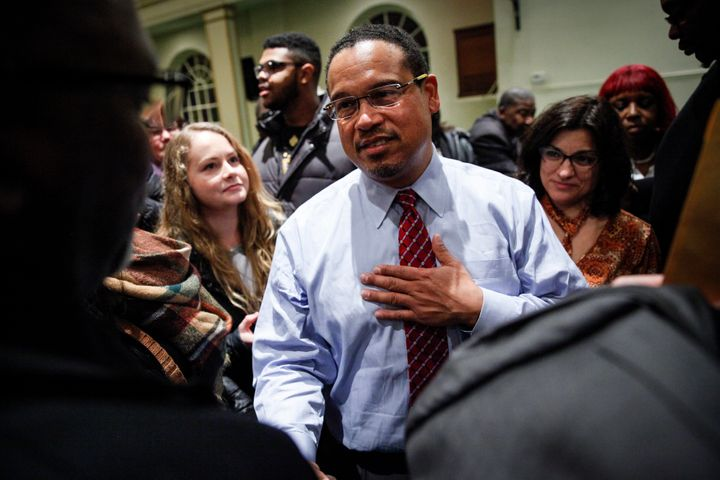 Rep. Keith Ellison (D-Minn.) meets supporters after a town hall meeting onDec. 22, 2016, in Detroit. Seeing Ellison spe