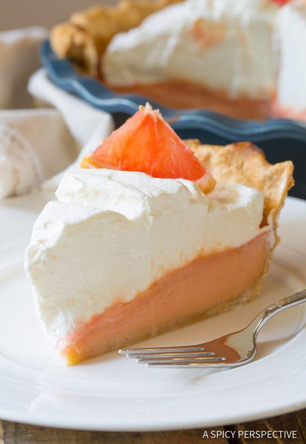"<strong>Get the <a href=""http://www.aspicyperspective.com/grapefruit-cream-pie/"" target=""_blank"">Grapefruit Cream Pie recipe<"