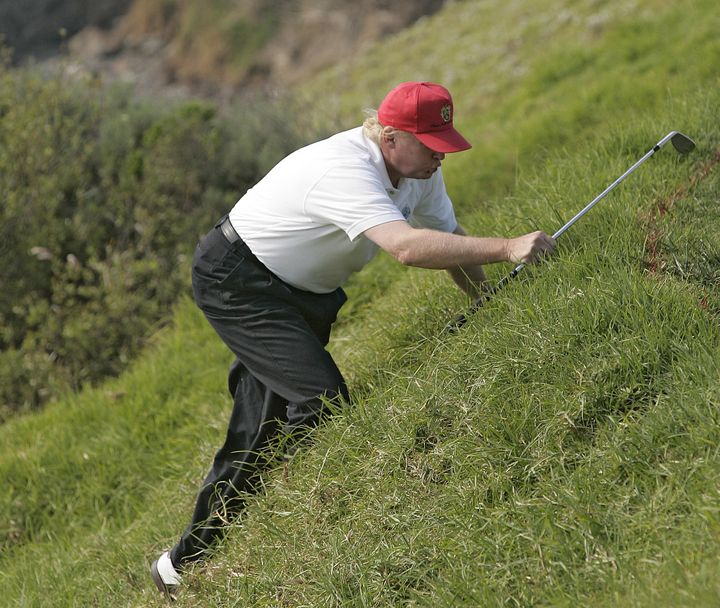 donald trump climbing golf hill