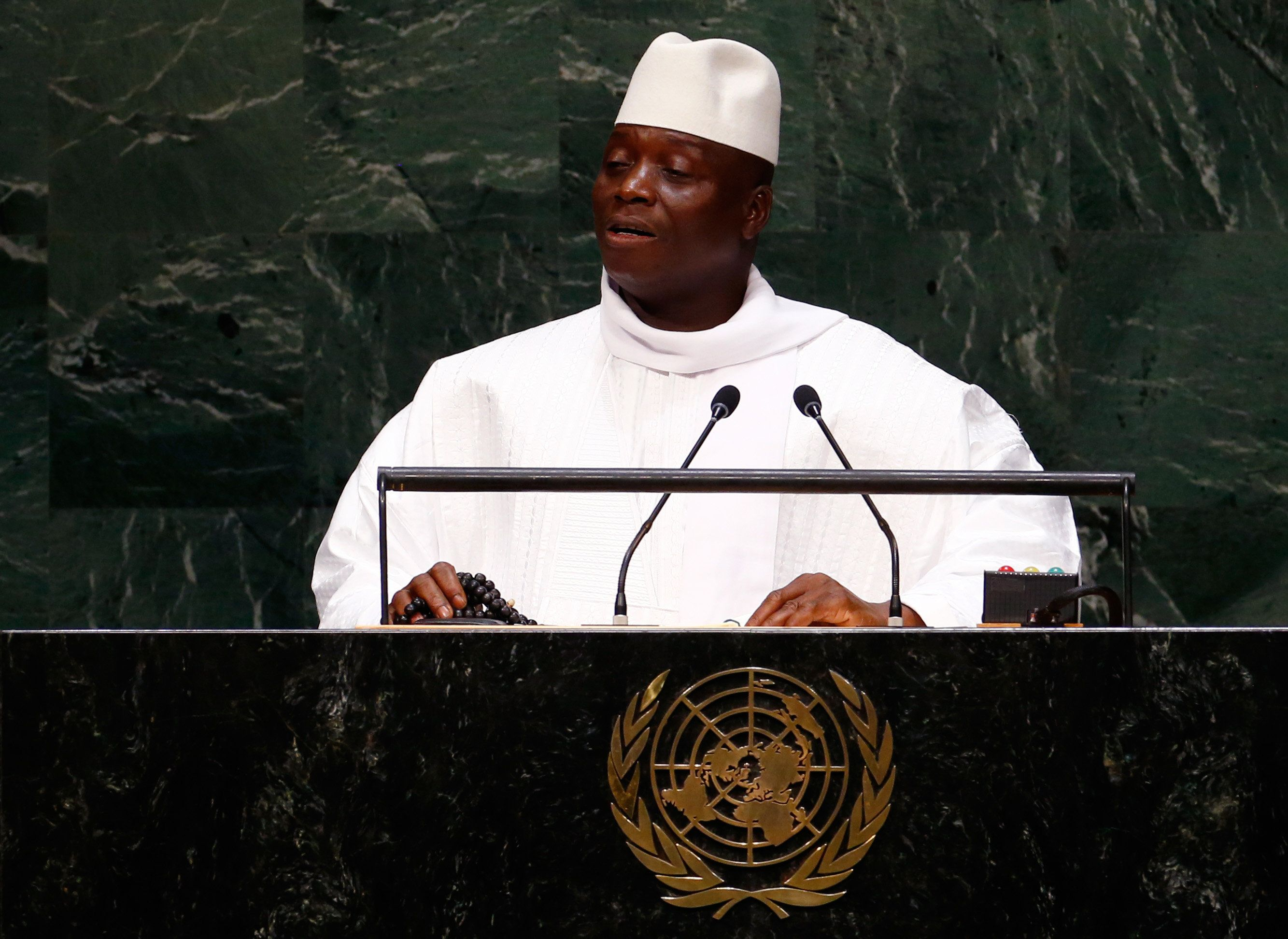 Al Hadji Yahya Jammeh, President of the Republic of the Gambia, addresses the 69th United Nations General Assembly at the U.N. headquarters in New York September 25, 2014.            REUTERS/Lucas Jackson (UNITED STATES  - Tags: POLITICS)