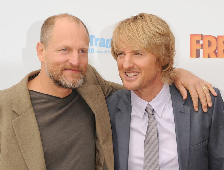 "Woody Harrelson and Owen Wilson arrive at the ""Free Birds"" Los Angeles Premiere at Westwood Village Theatre on October 13, 20"