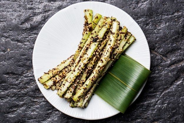 """<p>Looks fancy but it's just <a rel=""""nofollow"""" href=""""http://www.bonappetit.com/recipe/kombu-celery?mbid=synd_huffpotaste"""" target=""""_blank"""">celery</a>, and it's delicious.</p>"""