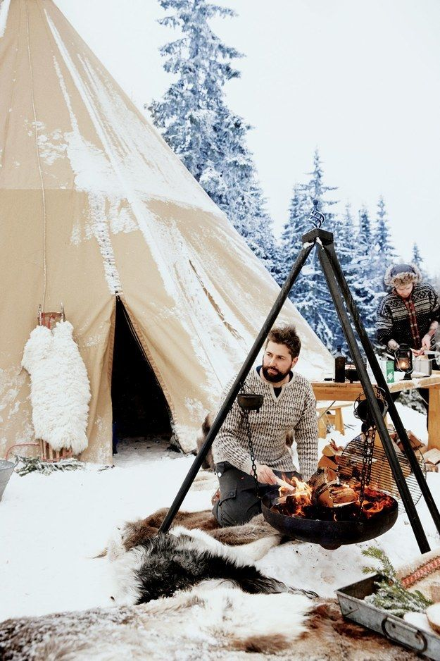 <p>Hygge pros only: cook outdoors, next to your yurt. In the snow.</p>