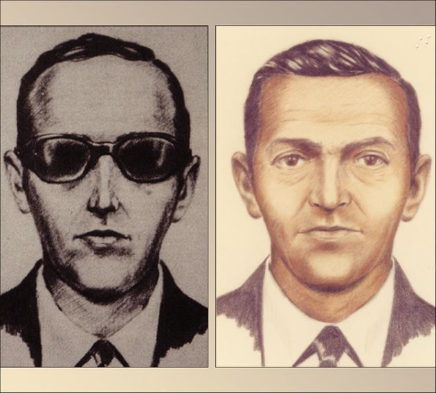 Artist sketches released by the FBI of a man calling himself DB Cooper, who vanished in 1971 with $200,000...