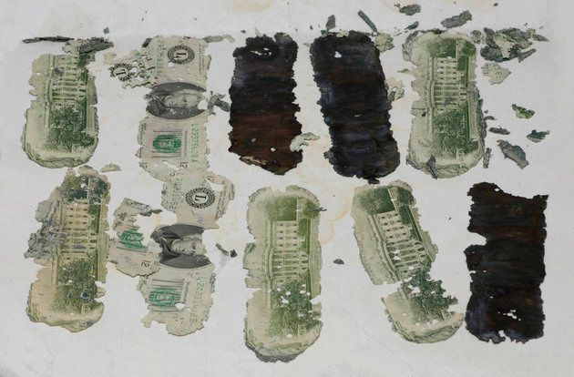 Some of the stolen $20 billsrecovered after DB Cooper leapt from the