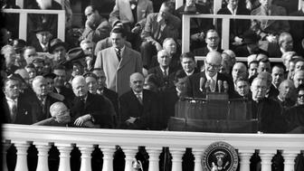 UNITED STATES - JANUARY 20:  Attending the Inauguration of President Dwight D. Eisenhower are Harry Truman (extreme L) Herbert Hoover (2L) & Vice President Richard Nixon (extreme R).  (Photo by Alfred Eisenstaedt/The LIFE Picture Collection/Getty Images)