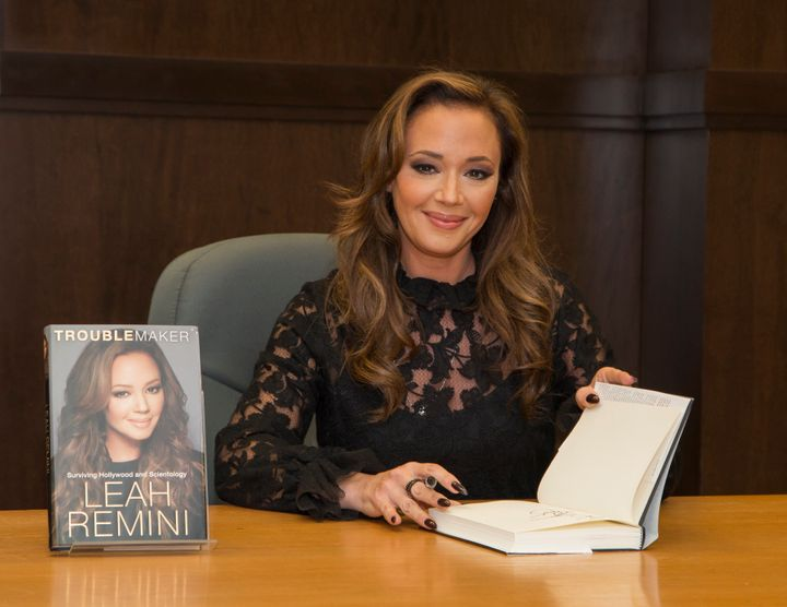 Leah Remini at a December 2015 book signing for her memoir <i>Troublemaker: Surviving Hollywood and Scientology</i>.