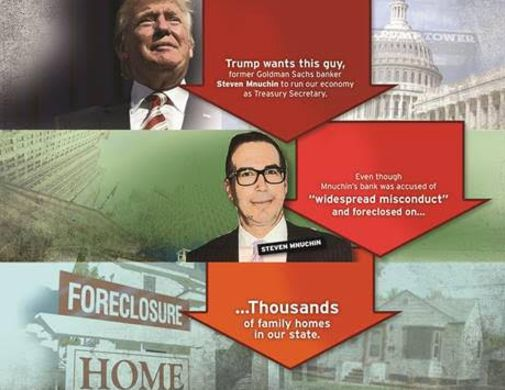 Allied Progress mailer opposing Steve Mnuchin, Donald Trump's choice for treasury secretary.