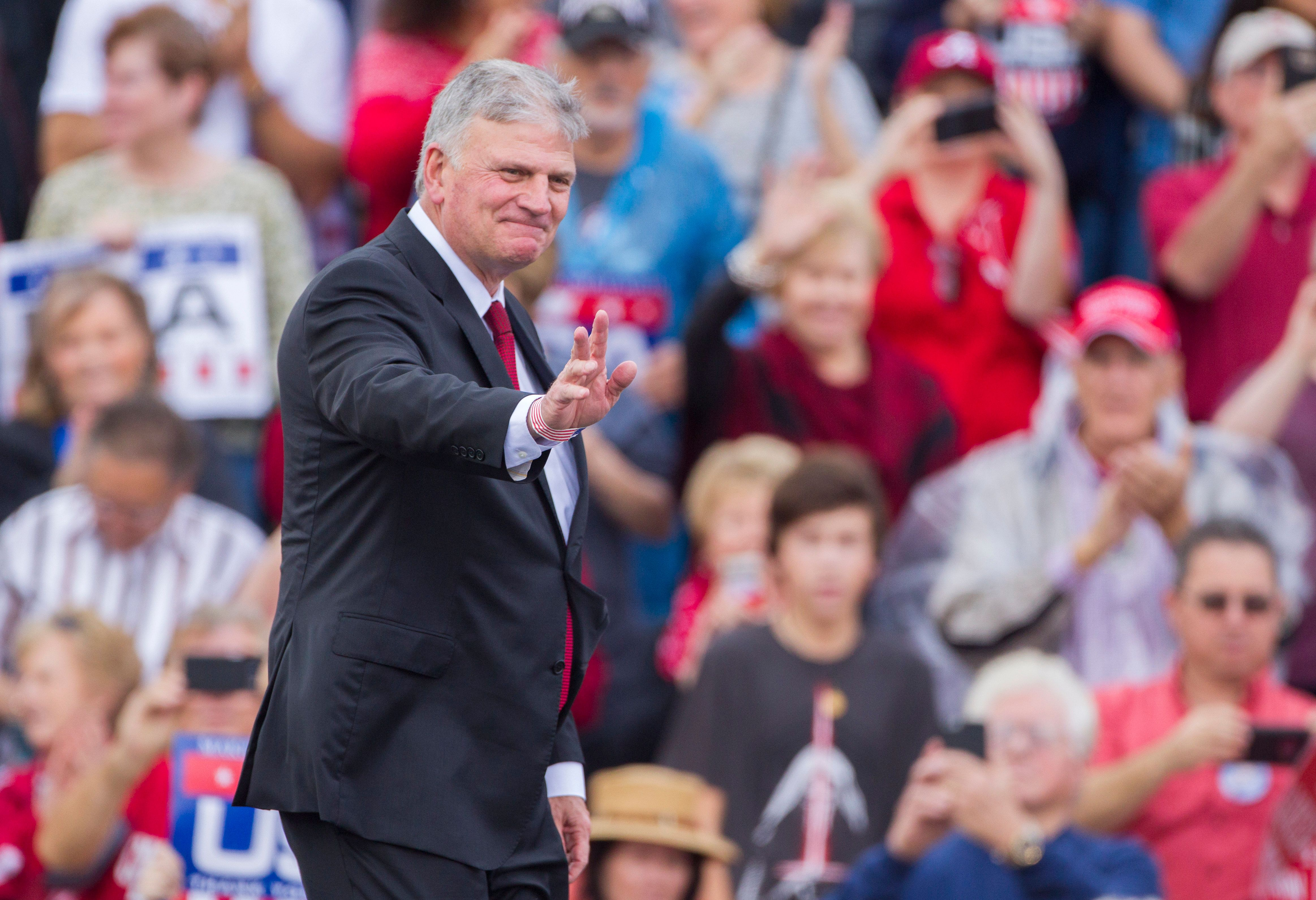 MOBILE, AL - DECEMBER 17:  Evangelist and CEO of the Billy Graham Evangelistic Association Franklin Graham takes the stage before president-elect Donald Trump during a thank you rally in Ladd-Peebles Stadium on December 17, 2016 in Mobile, Alabama. President-elect Trump has been visiting several states that he won, to thank people for their support during the U.S. election.   (Photo by Mark Wallheiser/Getty Images)