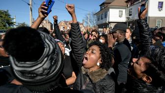 COLUMBIA, MO - NOVEMBER 13: Concerned Students 1950 group supporters chant during a march through University of Missouri campus on November 13, in Columbia, Missouri. The 'We Are Not Afraid' March started near Black Culture Center and ended in the central building, Jesse Hall.