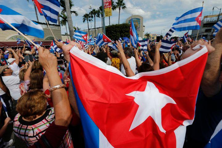 Cuban Americans in Miami's Little Havana celebrate the death of longtime Cuban leader Fidel Castro on Nov. 26, 2016.