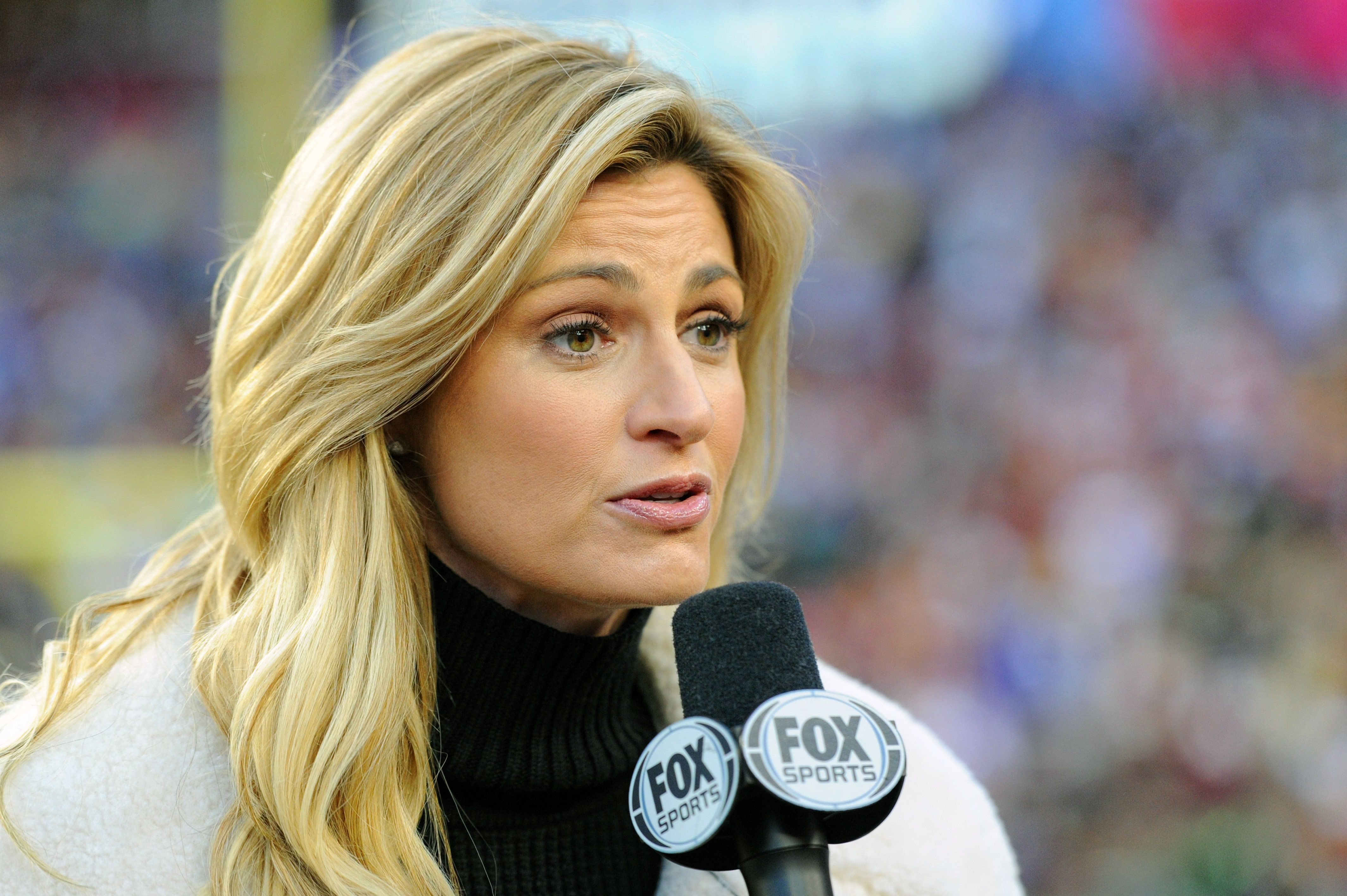 LANDOVER, MD - JANUARY 01: Fox broadcaster Erin Andrews works the game on January 1, 2017, at FedExField in Landover, MD. The New York Giants defeated the Washington Redskins, 19-10. (Photo by Mark Goldman/Icon Sportswire via Getty Images)