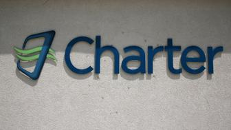 NEWTOWN, CONNECTICUT - MAY 30: Charter Communications' logo is seen at their Newtown, Connecticut location May 30, 2015. Charter is attempting to acquire Time Warner Cable for $79 billion. (Photograph by Yvonne Hemsey/Getty Images)