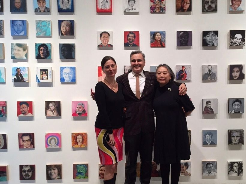 Co-curators Monica Lundy and Walter Maciel with Chinese born American contemporary painter, Hung Liu.