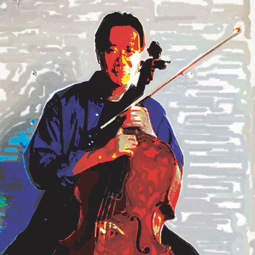 Yo Yo Ma from France by artist,  Linda Sue Price. Chinese-American cellist who has recorded more than 90 albums and has recei