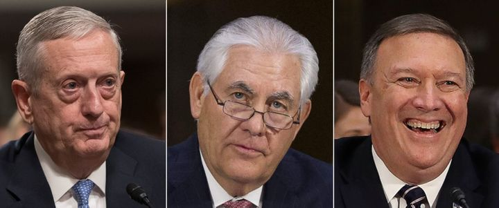 Secretary of Defense nominee James Mattis (left), Secretary of State nominee Rex Tillerson (center), and CIA Director nominee