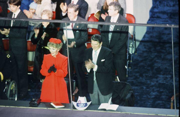 Nancy Reagan at Ronald Regan's inauguration, Jan. 20 1981.
