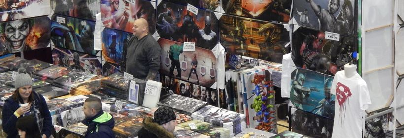 A merchants table at a Comic-Con in Wales, UK awaits its first costumers.