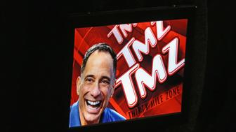 LAS VEGAS, NV - AUGUST 28:  A TMZ logo and photo of TMZ Founder and Executive Producer Harvey Levin is displayed during the launch party for IGT's TMZ Video Slots at the Hard Rock Hotel & Casino on August 28, 2016 in Las Vegas, Nevada.  (Photo by Gabe Ginsberg/Getty Images)