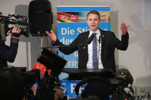 Bjoern Hocke, head of the Alternative fuer Deutschland political party (Alternative for Germany, AfD)...
