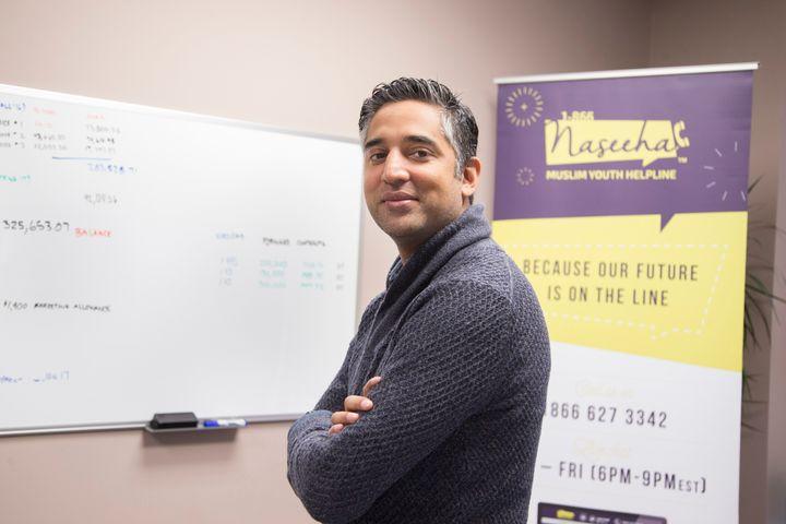 Yaseen Poonah, the founder of Naseeha Muslim Youth Helpline, in his office.