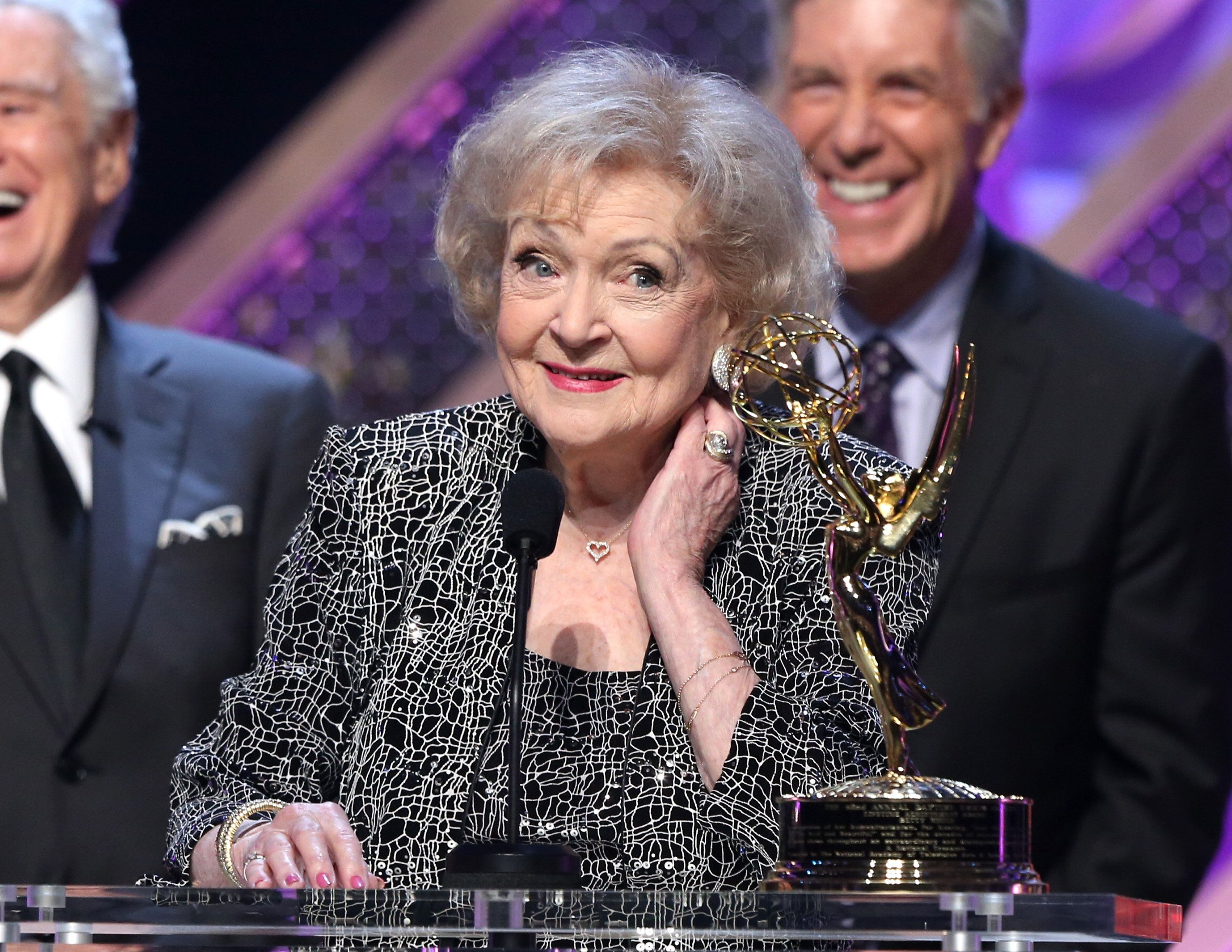 BURBANK, CA - APRIL 26:  Actress Betty White accepts Daytime Emmy Lifetime Achievement Award onstage during The 42nd Annual Daytime Emmy Awards at Warner Bros. Studios on April 26, 2015 in Burbank, California.  (Photo by Jesse Grant/Getty Images for NATAS)