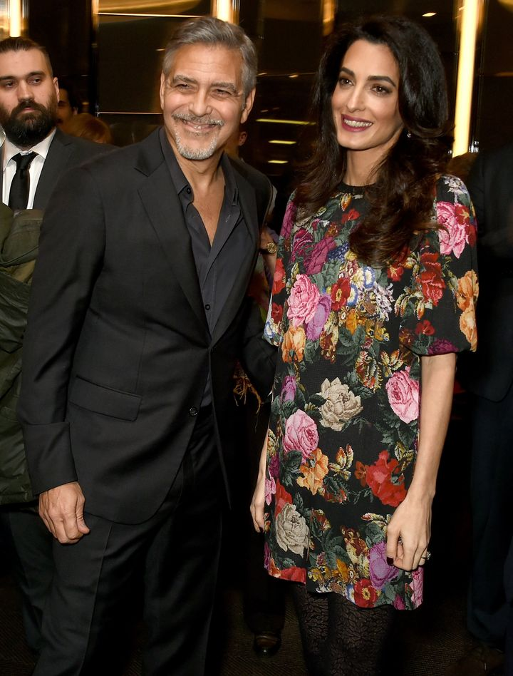 "George and Amal Clooney attend the Netflix special screening and reception of ""The White Helmets"" hosted by The Clooney Foundation For Justice on Jan. 9."
