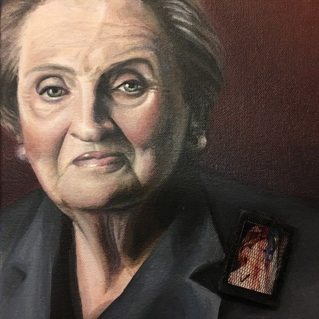 Madeleine Albright from Czechslovakia by artist, Calida Rawles.  Madeleine Albright served as the first woman Secretary of St