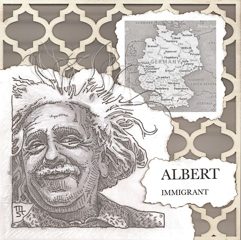 Albert Einstein from Germany by artist, Mike Street.