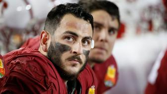 SAN FRANCISCO, CA - DECEMBER 30: A.J. Tarpley #17  of the Stanford Cardinal eyes the scoreboard during the inaugural Foster Farms Bowl against the Maryland Terrapins at Levi's Stadium on December 30, 2014 in San Francisco, California.  (Photo by Tom Dahlin/Getty Images)