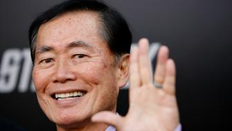 "Actor George Takei gestures at the premiere of the movie ""Star Trek"" at the Grauman's Chinese theatre in Hollywood, California April 30, 2009. The movie opens in the U.S. on May 8.   REUTERS/Mario Anzuoni   (UNITED STATES ENTERTAINMENT)"