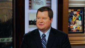 MEET THE PRESS -- Pictured: (l-r)  Andrea Mitchell, NBC News Chief Foreign Affairs Correspondent, left, and Erick Erickson, Founder, Resurgent, right, appear on 'Meet the Press' in Washington, D.C., Sunday Feb. 28, 2016.  (Photo by: William B. Plowman/NBC/NBC NewsWire via Getty Images)