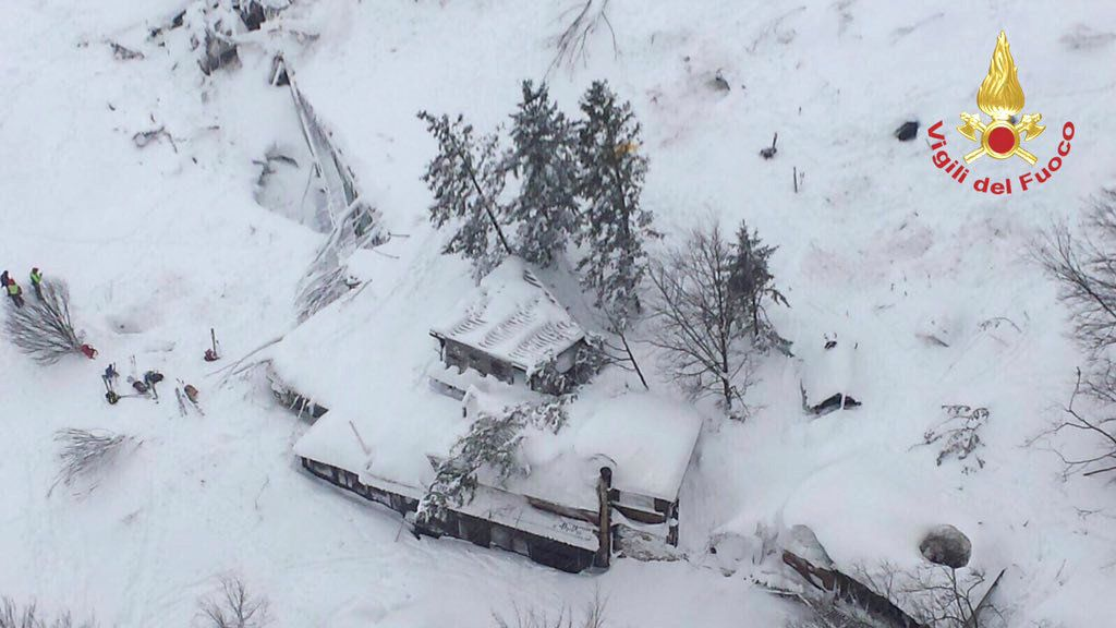 An aerial view shows Hotel Rigopiano in Farindola after it was hit by an