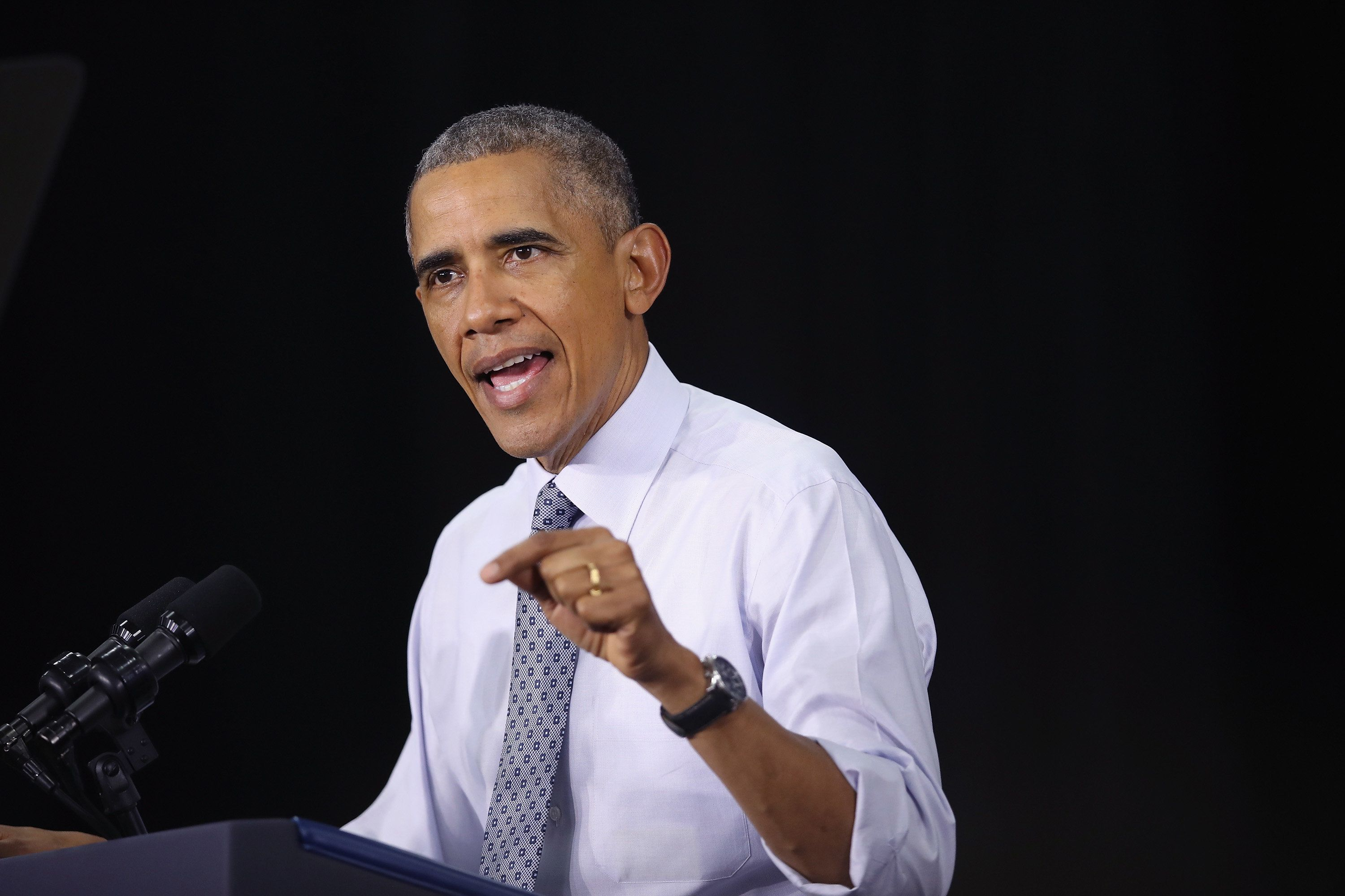 President Barack Obama speaks in Elkhart, Indiana, on June 1, 2016. The midwestern town has experienced one of the country's