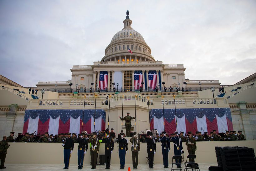U.S. military members participate in a dress rehearsal for the 58th Presidential Inauguration ceremony, in Washington D.C., J