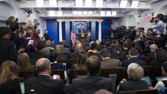 US President Barack Obama holds a year-end press conference in the Brady Press Briefing Room of the White House in Washington, DC, December 16, 2016. Obama on Friday warned his successor Donald Trump against antagonizing China by reaching out to Taiwan, saying he could risk a 'very significant' response if he upends decades of diplomatic tradition. / AFP / SAUL LOEB        (Photo credit should read SAUL LOEB/AFP/Getty Images)