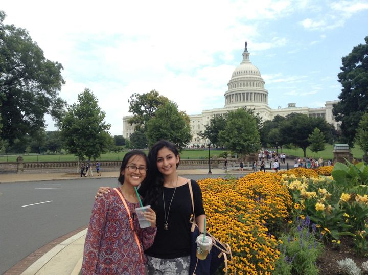 Mahira Tiwana, right, and her friend Sarina Shrestha visit Washington, D.C. during their first year in the U.S.